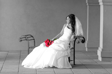 utah bridal on bench with flowers in color
